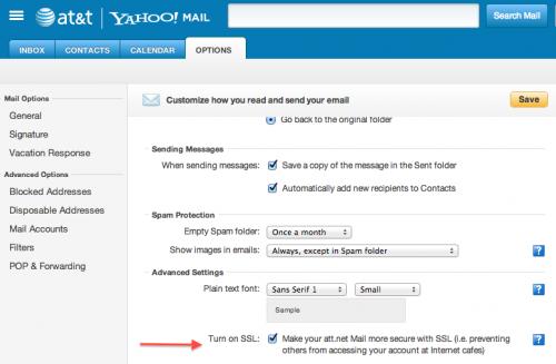 AT&T Yahoo email SSL checkbox
