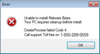 Phony error message