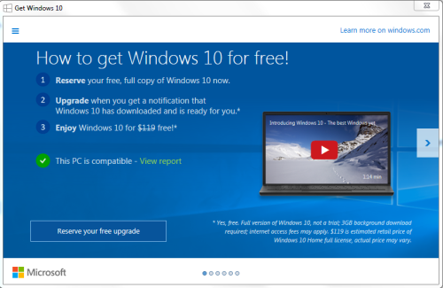 Windows 10 upgrade prompt