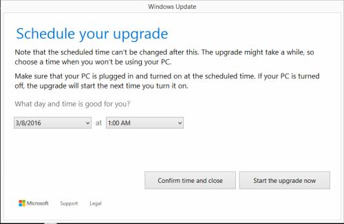 Schedule Windows 10 upgrade