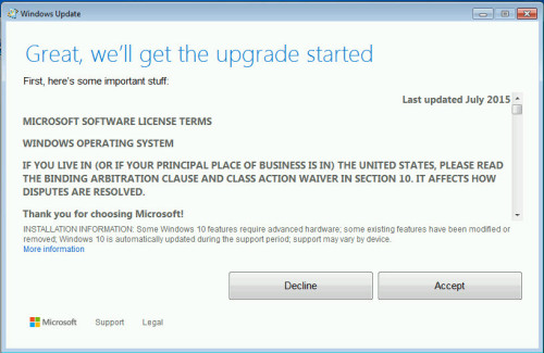 Windows 10 upgrade EULA