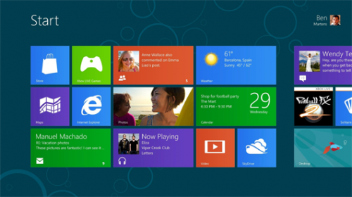 Windows 8 new tiled Start interface