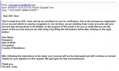 AOL Phishing email