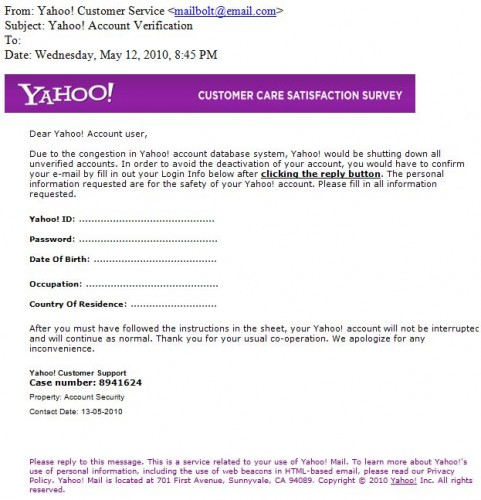 Phishing Email that looks like it's from Yahoo