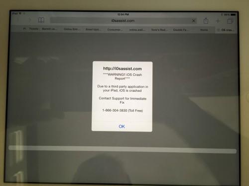 iOS Safari warning scam